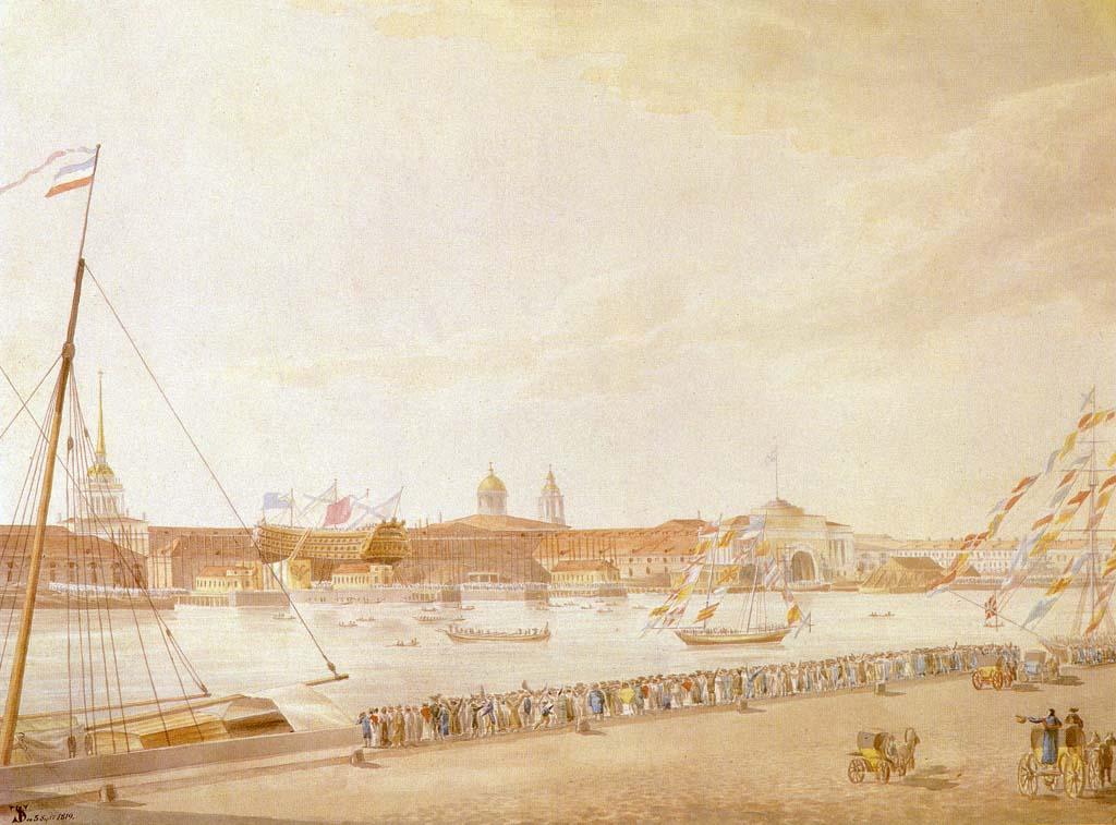 «Спуск корабля на Неве». Акварель Ф. Ф. Шенрока. 1819 г.