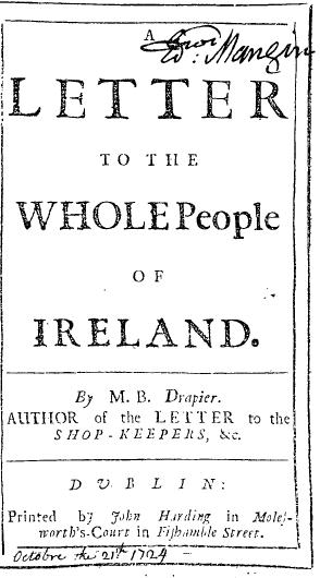 Воззвание к народу Ирландии («Письма суконщика», 1724)