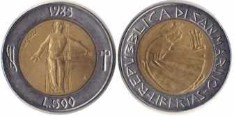 500 лир Сан-Марино, 1985 год, XF