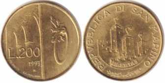 Сан-Марино, 200 лир, 1993 год, XF