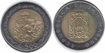 500 лир Сан-Марино, 1988 год, XF