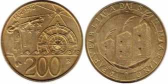 Сан-Марино, 200 лир, 1992 год, XF