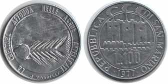 100 лир Сан-Марино, 1977 год, XF